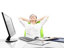 La donna di affari sta rilassandosi Fotografia Stock