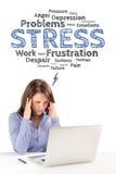 La donna di affari sta sedendosi davanti ad un computer portatile nell'ambito del emot di sforzo Fotografie Stock