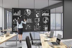 La donna di affari sta tracciando un diagramma in ufficio Immagini Stock Libere da Diritti
