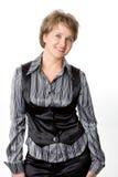 La donna di affari su una priorità bassa bianca Fotografia Stock Libera da Diritti
