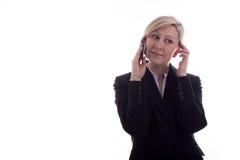 La donna di affari sul telefono ha soddisfatto Fotografia Stock