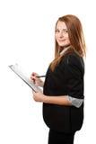 La donna di affari tiene i appunti Immagine Stock Libera da Diritti