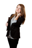 La donna di affari tiene i appunti Fotografia Stock Libera da Diritti