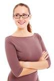 La donna di affari in vetri esamina il lato Fotografia Stock Libera da Diritti