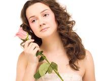 La donna di bellezza con è aumentato immagini stock