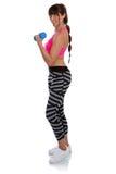 La donna di forma fisica di allenamento di sport con il ritratto completo del corpo della testa di legno è Immagini Stock Libere da Diritti
