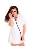 La donna di medico iIsolated sul phonendoscope bianco del fondo Fotografia Stock Libera da Diritti