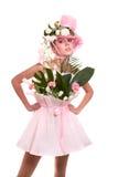 La donna di modo è mazzo di fiori. fotografia stock
