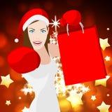 La donna di Natale significa le vendite al dettaglio e festivo di compera Immagine Stock