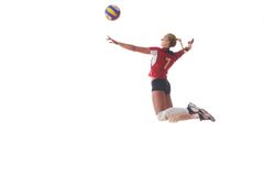 La donna di pallavolo salta Fotografia Stock