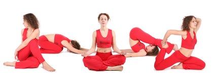 La donna di yoga si siede il gruppo Fotografia Stock