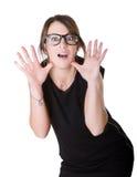 La donna dice wow fotografia stock