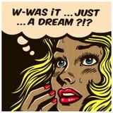 La donna domandantesi dubbiosa del libro di fumetti di Pop art può ` t dire la realtà dall'illustrazione di vettore di fantasia Immagini Stock Libere da Diritti