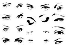 La donna eyes la siluetta Fotografia Stock