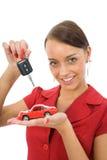 La donna fa pubblicità alle automobili Immagini Stock