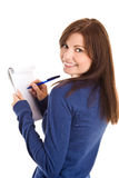 La donna fa record dalla penna in blocchetto per appunti fotografia stock libera da diritti