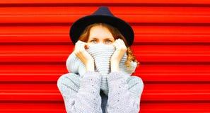 La donna felice alla moda del ritratto di autunno nasconde la sua sciarpa del fronte fotografia stock