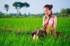 La donna felice dell'agricoltore che si siede in riso ha archivato, la Tailandia Fotografie Stock Libere da Diritti
