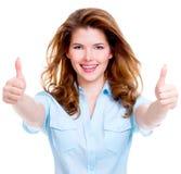 La donna felice heerful del ¡ di Ð con i pollici aumenta il segno Fotografia Stock Libera da Diritti