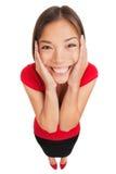 Donna felice sormontata con gioia Immagini Stock Libere da Diritti