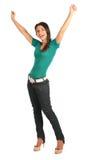 La donna gode di una vittoria Fotografie Stock