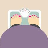 La donna grassa pesa l'icona Fotografie Stock Libere da Diritti
