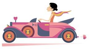 La donna graziosa determina l'illustrazione dell'automobile illustrazione di stock