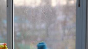 La donna in guanti gialli lava la finestra con uno straccio blu stock footage