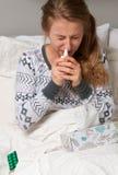 La donna ha il freddo, l'influenza e febbre alta Immagine Stock Libera da Diritti