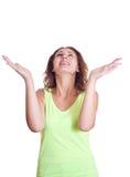 La donna ha ringraziato il cielo fotografie stock libere da diritti