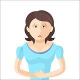 La donna ha un dolore addominale Carattere nello stile piano illustrazione di stock