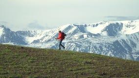 La donna il viaggiatore scala un pendio di montagna con i bastoni per seguire Zaino rosso Bastoni per seguire stock footage