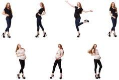 La donna incinta nell'immagine composita isolata su bianco Immagine Stock