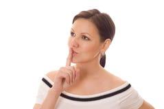 La donna incinta osserva in avanti Fotografia Stock