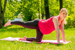 La donna incinta si esercita tutto soppesato ed allungare Immagini Stock
