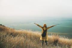 La donna incoraggiante gode di bella vista al picco di montagna immagine stock