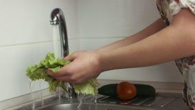 La donna lava le foglie della lattuga ed altre verdure nella cucina prima della cottura video d archivio