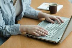 La donna lavora ad un computer portatile a casa Fotografia Stock Libera da Diritti