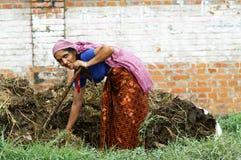 La donna lavora lo sbarco Fotografia Stock Libera da Diritti