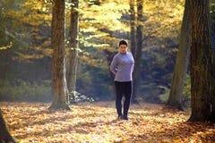 La donna matura piacevole sta su un fondo dell'autunno giallo Donna matura della foresta di autunno Fotografia Stock