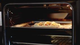 La donna mette le torte nel forno per cuocere stock footage