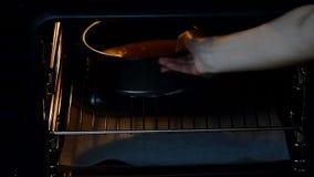 La donna mette un dolce nel forno, primo piano video d archivio