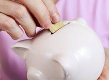 La donna mette una moneta al porcellino salvadanaio fotografia stock libera da diritti