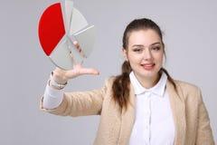 La donna mostra un diagramma a torta, diagramma circolare Concetto di analisi dei dati di affari fotografie stock