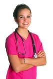 La donna nel colore rosa frega Immagini Stock