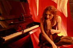 La donna nel colore rosso Fotografia Stock Libera da Diritti