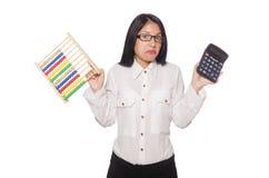 La donna nel concetto di affari divertenti su bianco Immagine Stock Libera da Diritti