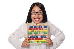 La donna nel concetto di affari divertenti su bianco Immagini Stock Libere da Diritti
