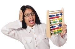 La donna nel concetto di affari divertenti su bianco Fotografia Stock