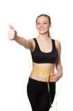 La donna nel concetto di sport isolata su bianco Fotografie Stock Libere da Diritti